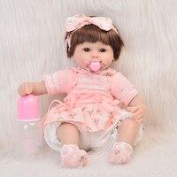 New NPK 18 Inch Cute Reborn Baby Dolls Girl Soft Silicone Lifelike Babies Dolls That