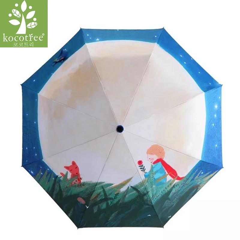 fbd38b23c338 Kocotree Cartoon Little Prince Umbrella Rain Women Folding Umbrellas Female  Sunny Parasol Oil Painting Umbrella For Children
