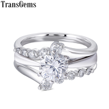 Transgems Solid 14K White Gold Center 1ct Carat 6.5mm F Color Moissanite Engagement Bridal Set with Accents 2 Piece