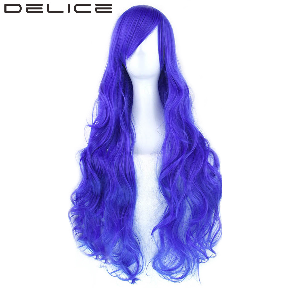 DELICE 32inches 220g Long Curly Women s High Temperature Fiber Synthetic Hair Blue Gray Party Cosplay