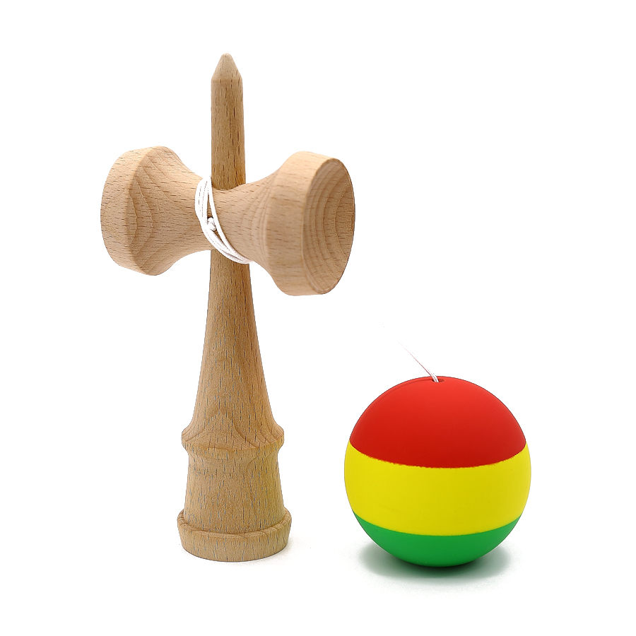 Striped Rubber Kendama Elastic Frosted Kendama Professional Wooden Toy Skillful Juggling Ball Game Toy Gift For Children Adult