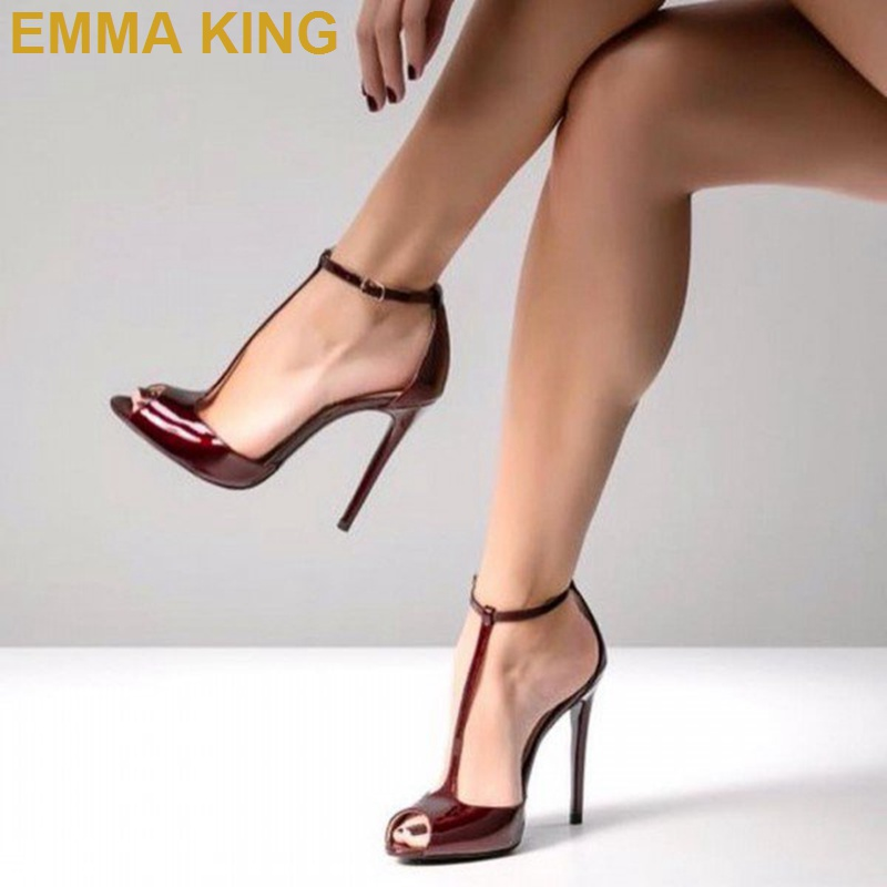 Бордовые туфли лодочки из лакированной кожи с открытым носком женские туфли на высоком каблуке с Т образным ремешком Свадебные Вечерние ту
