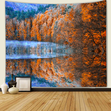 Beautiful Night forest snow mountain scenery Wall Tapestry Home Decorations Hanging Forest Tapestries Decor
