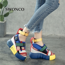 SWONCO Platform Sandals Women Summer Shoes 2019 Female Casual Shoes Wedge High Top High Heel Chunky Sandals For Woman Size 10 41