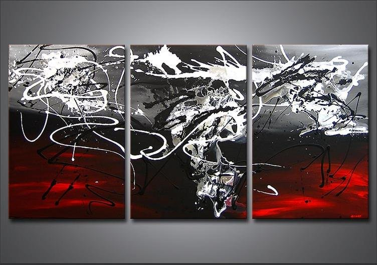 Handpainted 3 Piece Black White Red Modern Abstract