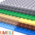 UMEILE Duplo Original 9 Colors 8*16 Dots 25.6*12.5cm Large Particle Building Blocks Classic Baseplate Diy Plate Kids Toys Gift