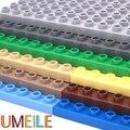 Umeile duplo original 9 colores 8*16 puntos 25.6*12.5 cm grande de partículas building blocks classic placa base diy placa de regalo juguetes de los niños