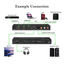 Hot!!! 4K V1.4 HDMI HIFI Switch Switcher Selector Box 3 In 1 HDMI Audio Extractor Splitter+Remote Control Free Shipping XP15M09