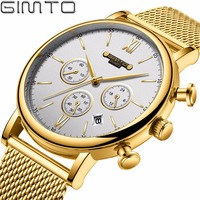 GIMTO Top Brand Luxury Men Watch Gold Steel Clock Casual Quartz Wristwatch Waterproof Chronograph Male Watches