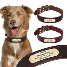 Dog Collar Personalized Genuine Leather Pet Collar Nameplate ID Tags Custom Dog Collars Engraved Medium Large Dogs Collar S M L