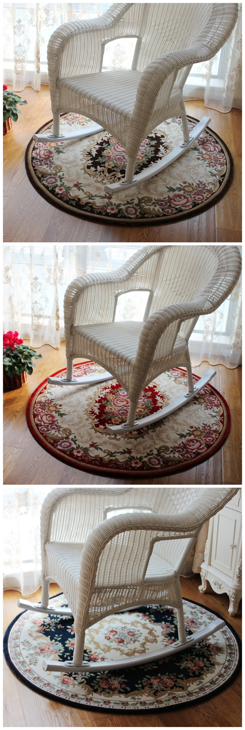 Luxury European Style Round Carpet For Living Room Cloakroom Soft Area Rugs For Swivel Chair Large Anti Slip Parlor Floor Mat