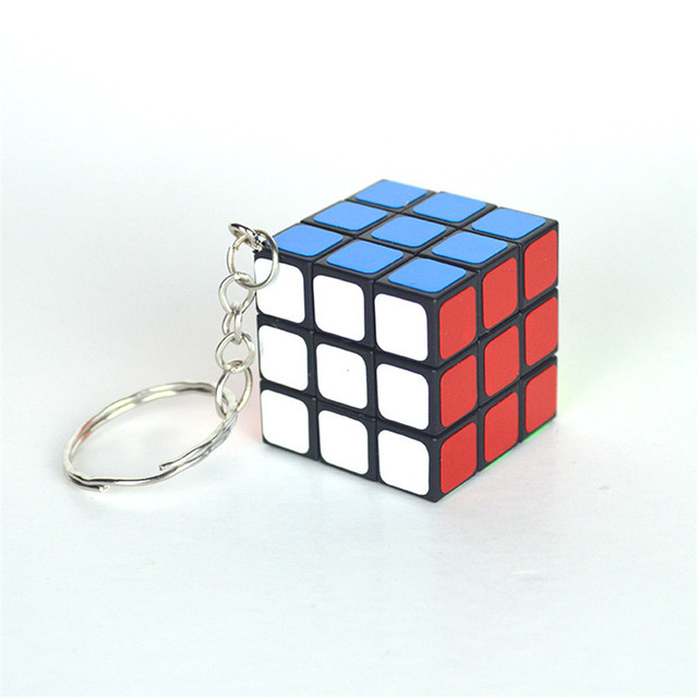 High Quality 3CM Plastic ABS Mini 3x3x3 Magic Cube Puzzle Stickers with Keychain Ring Opp Bag Packakge IQ Toys Gift