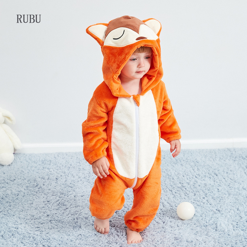 Winter Baby   rompers   fox boys girls clothes new born baby jumpsuit Toddler winter hooded animal pajamas bebe   romper   baby costume