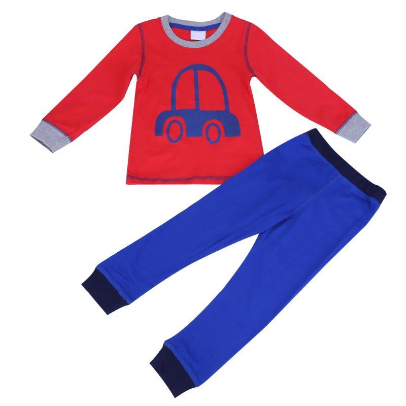 2pcs/Set Boys Cartoon Car Pattern Soft Homewear Pajamas Red Top+Blue Pants Cute Sleepwear Kids Pajama Sets