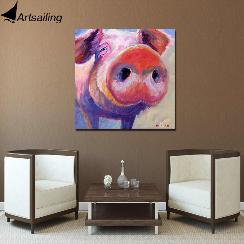 ArtSailing HD print 1 Piece canvas wall art Cute pink Pig Painting wall pictures Red Peg Pig posters and prints Bristle Pig