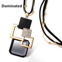 Dominated Women Fashion Accessories Sweater Chain Length All-match Crystal Pendant Necklace(China)