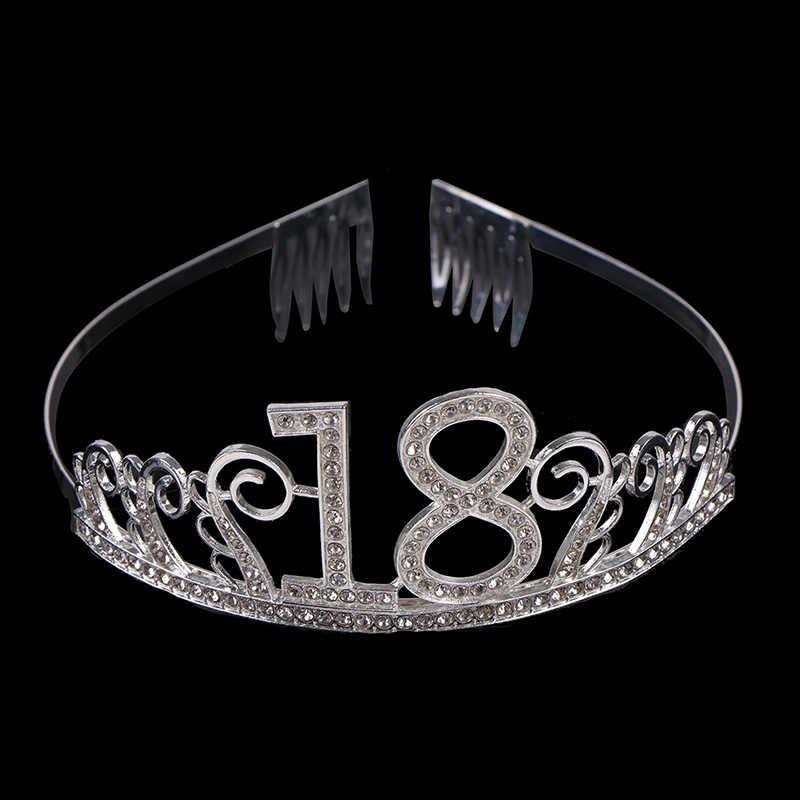 18 ปีวันเกิดCrown Hairbandคริสตัลสาวเจ้าหญิงTiaraอุปกรณ์เสริม