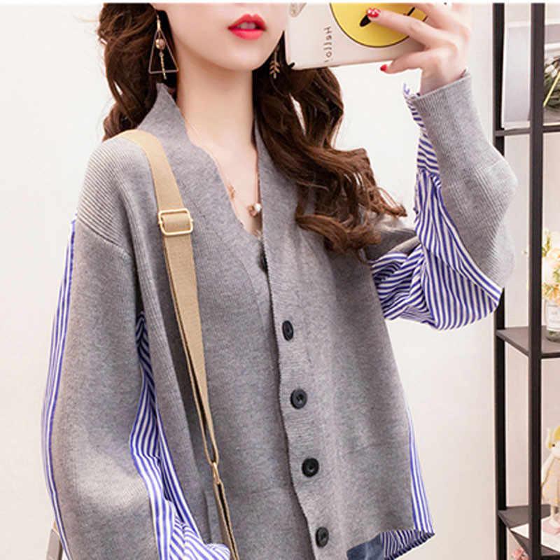 2019 mới sọc áo khâu đan kết nữ Spring Áo len thu đông thời trang Cổ Chữ V rời đan áo khoác quần áo A1363