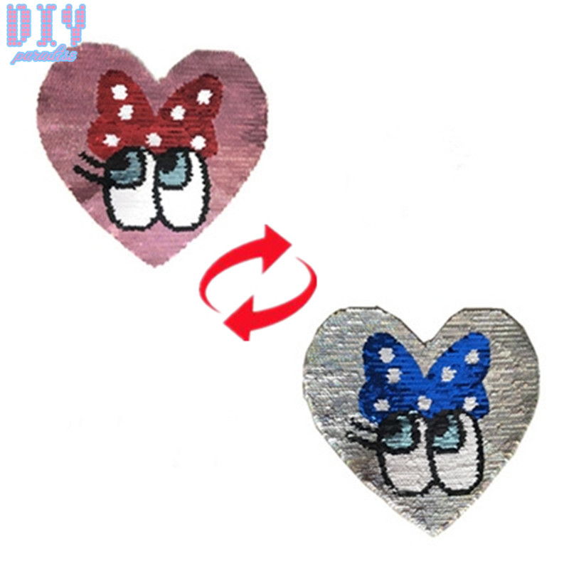 Bow Eyes Reverse Sequins Sew On Patches for clothes Kids T Shirt Cartoon Change color Em ...