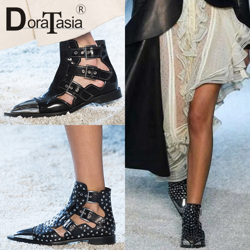 DORATASIA 2019 New Summer Luxury Brand Design Whole Genuine Leather Gladiator Sandals Women Large Size 34-43 Women Shoes Woman