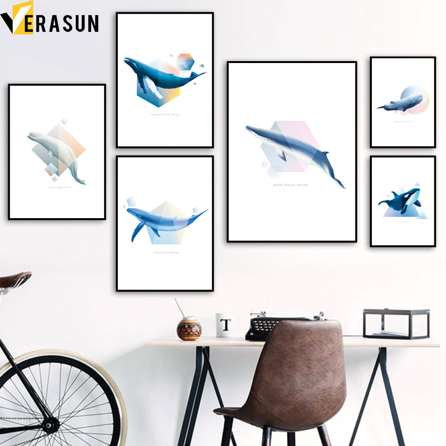 Cartoon Whale Geometric Minimalist Wall Art Canvas Painting Nordic Posters And Prints Pictures For Living Room Home Decor
