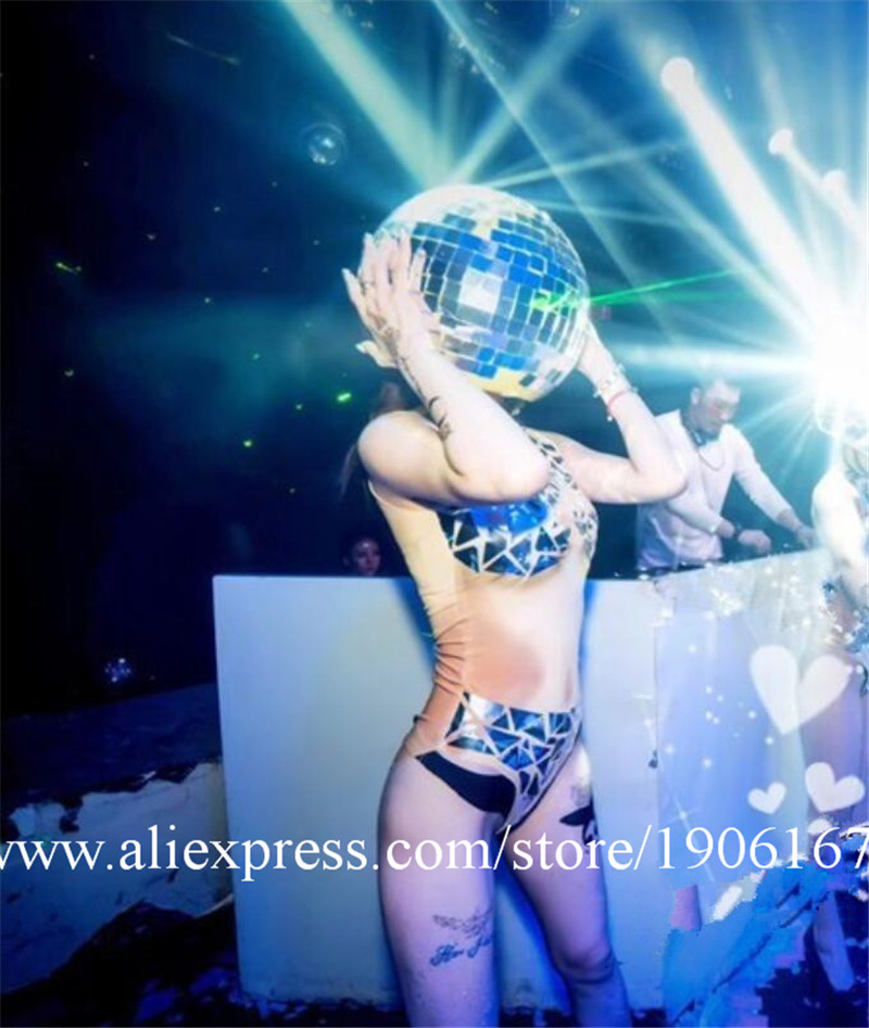 Ballroom dance costumes mirror men women singer stage show wears dj clothe Glass ball led helmet catwalk disco performance1