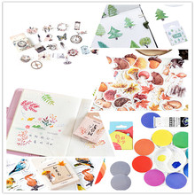 46pcs/box Cute Small forest robin Old chapter Label Stickers Mini  Diary Adhesive Scrapbooking Decorative DIY