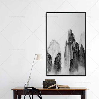 Original Famous Handpainted Ink Mountain Abstract Modern Wall Art Picture Home Decor Oil Painting On Canvas For Livingroom