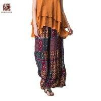 Jiqiuguer Kadınlar Vintage Çiçekli Baskı Geniş Bacak Pantolon Artı Boyutu Elastik Bel Ayak Bileği-uzunluk Gevşek yaz rahat pantolon G172K006