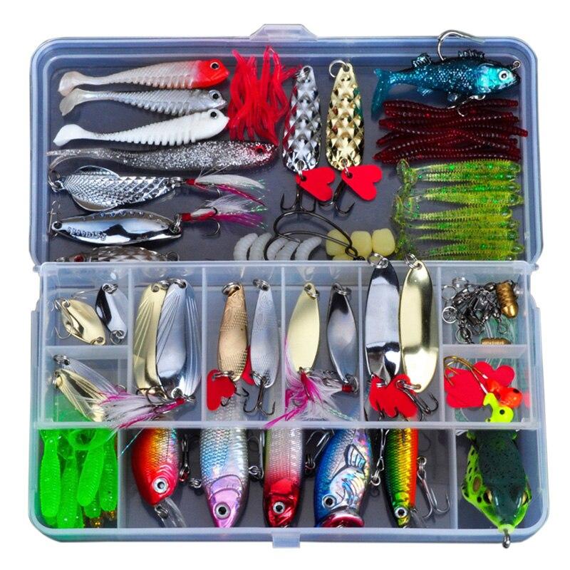 ALLBLUE señuelo de pesca Kit Metal señuelo cebo de plástico blando atraer Wobbler Rana atraer