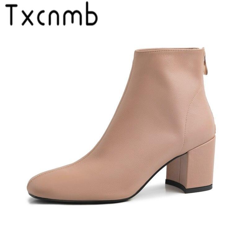 Tcxcnmb 2019 부츠 여성용 발목 부츠 겨울 정품 가죽 하이힐 지적 발가락 신발 여성-에서앵클 부츠부터 신발 의  그룹 1