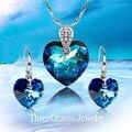 Романтическая мода дамы ювелирные изделия стерлингового серебра 925 королевский синий австрийских кристаллов ожерелья и серьги для женщин JS138