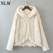 NLW สีขาว Faux Fur Coat Warm Furry hooded women Jacket 2018(China)