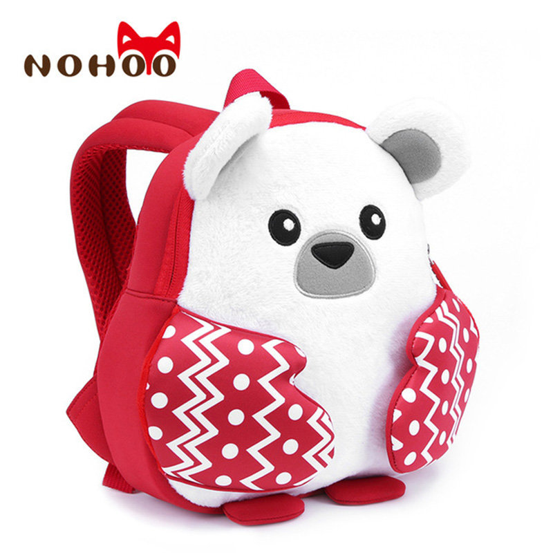NOHOO Bear School Bags Waterproof Children Backpack Neoprene Printing Child Kindergarten 3D Rucksack For Girls Boys 3-7 Age-40 nohoo tiger type neoprene backpacks