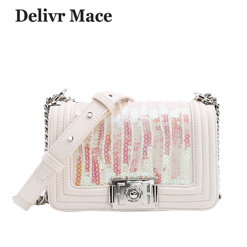 Handbags Females Shoulder Bags Women Fashion 2018 PU Leather Sequin White Beaded Chain Hand Bags For Girls Crossbody Bag Ladies sequin detail chain bag