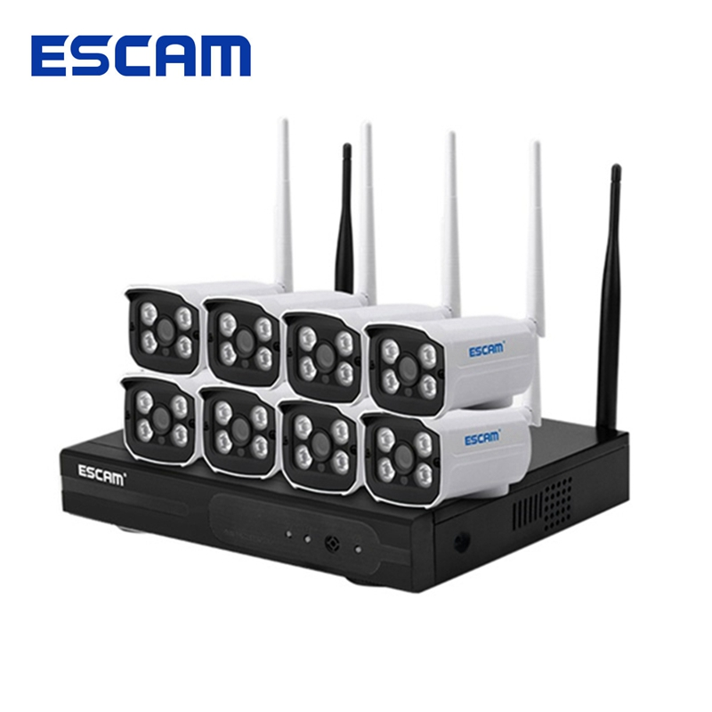ESCAM WNK803 8CH 720P Wireless NVR Kit Outdoor IR WiFi IP Camera Surveillance IP66 Waterproof Home Security System escam hd 8ch nvr for wireless ip camera
