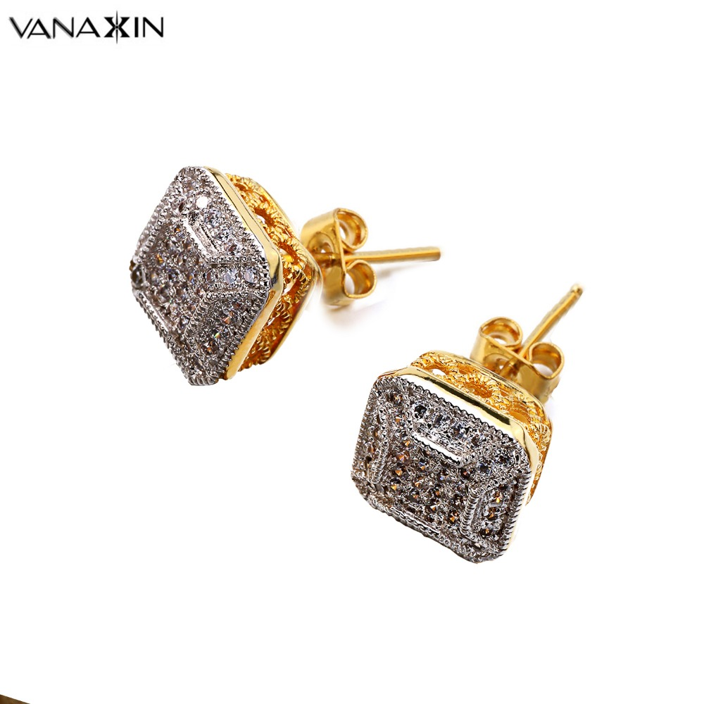 32e266dc9 fashion Stud girl big XL disco dots micro pave AAA cubic zirconia gold  color 14mm 925 silver screw back cz earring for women men