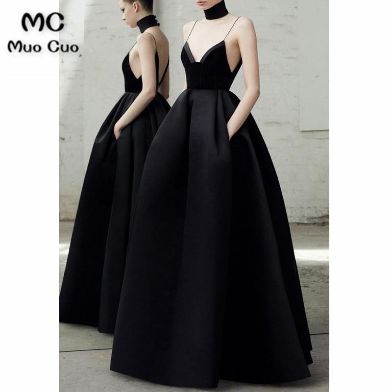 2018 Black Prom Dresses V neckline pleated Spaghetti Straps velvet bodice Satin Formal Evening Party Dress