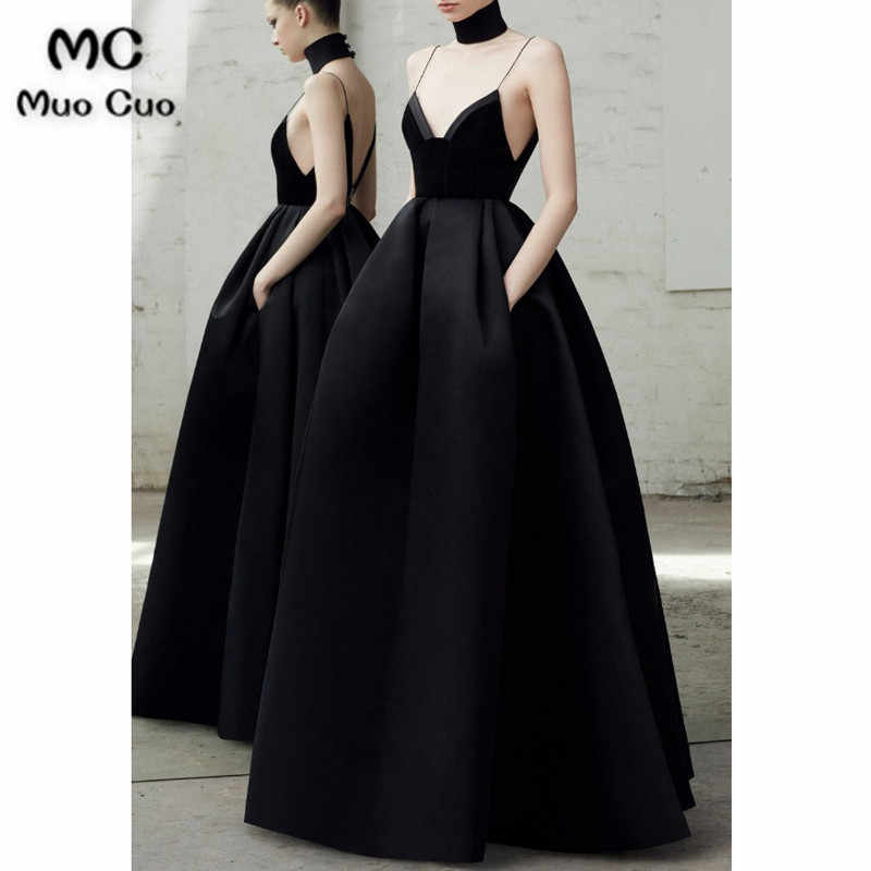 a565d6eece405 2018 Black Prom Dresses V neckline pleated Spaghetti Straps velvet bodice  Satin Formal Evening Party Dress for Women