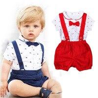 Детский летний костюм джентльмена для мальчиков и девочек с коротким рукавом нагрудный ремень Шорты джинсы два комплекта детская одежда От...