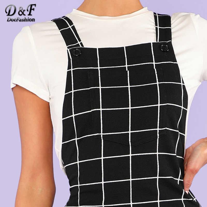 7ca6db06b471f Dotfashion Bib Pocket Front Grid Pinafore Dress 2019 Summer Sleeveless  Preppy Dress Women Black Straps Short Straight Dress