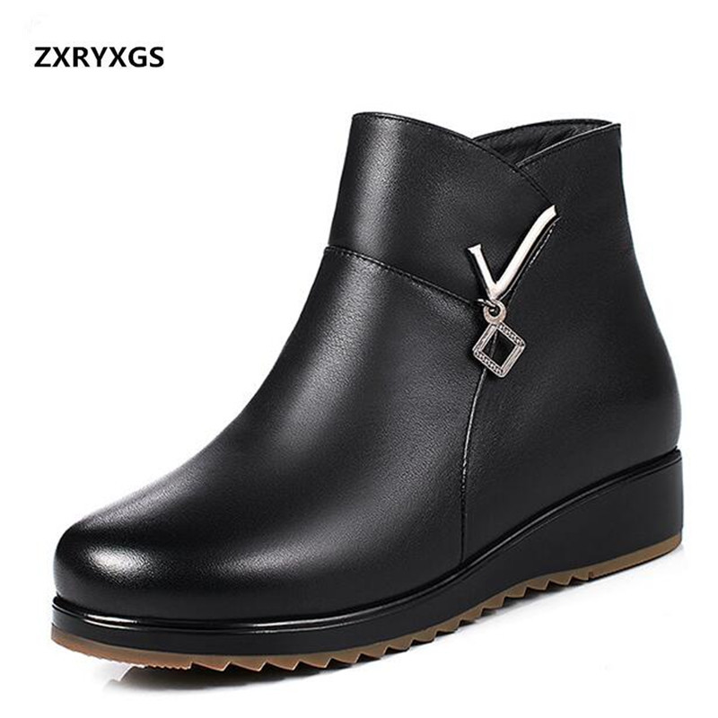 ZXRYXGS Brand Boots Real Leather Shoes Woman Plus Velvet and Wool Warm Snow Boots 2018 New