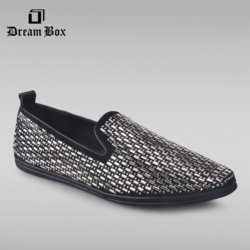 dreambox The new summer leisure set foot shoes leather flat diamond loafer Sequin lazy shoes men dreambox summer leisure trends in europe and america mesh breathable shoes set foot thick soled shoes