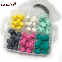 DIY Nursing Jewelry Combination Package 60pcs Mixed Color 0.67(17mm) Geometric Hexagon Silicone Beads Baby Teether Toys Set