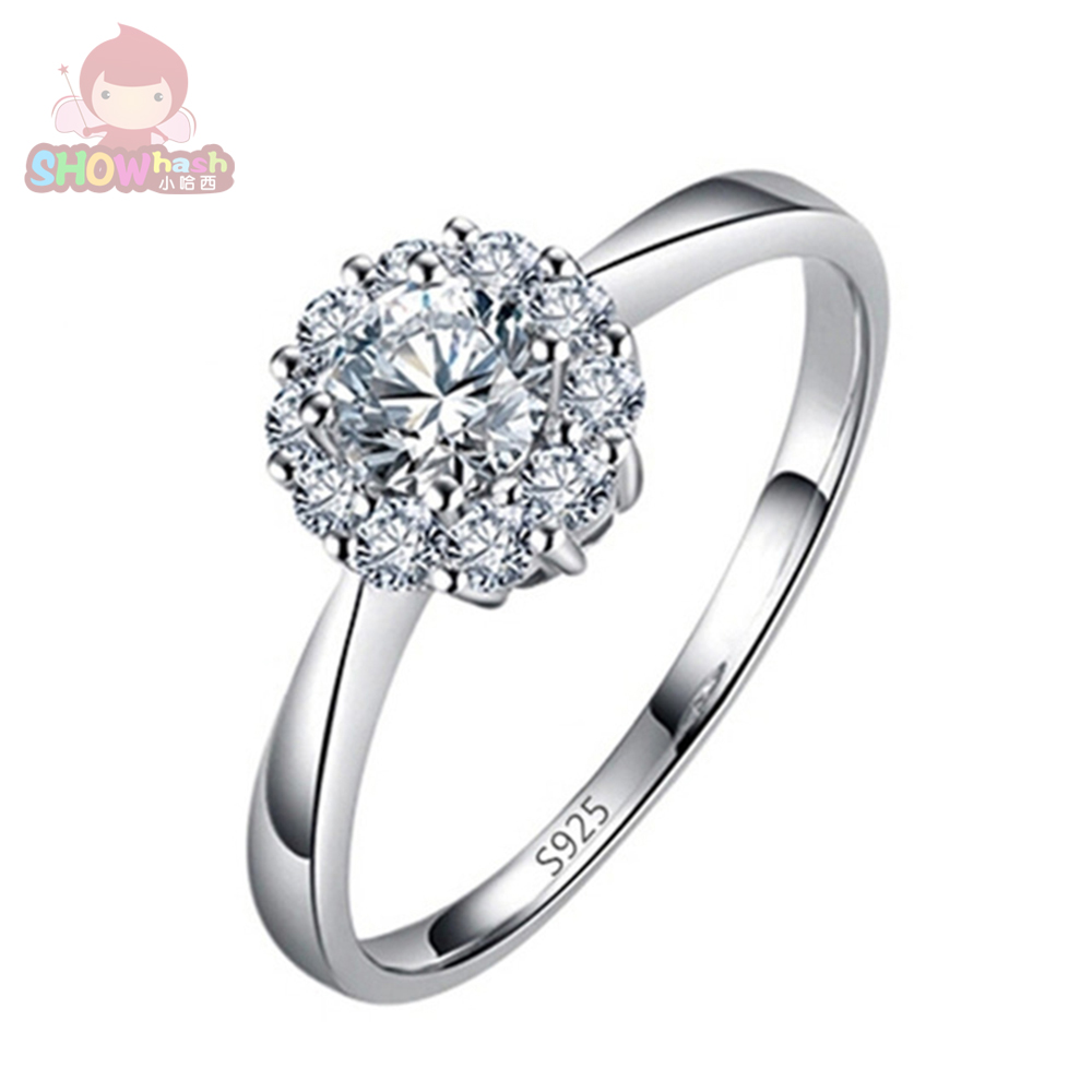 Chic Flower Wedding Engagement Rings For Women White Silver Plated Ring  Luxury Vintage Crystal Valentine Gift