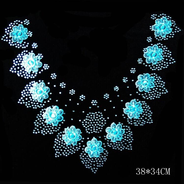 Clear Crystal flower necklace shirt neckline DIY strass ...