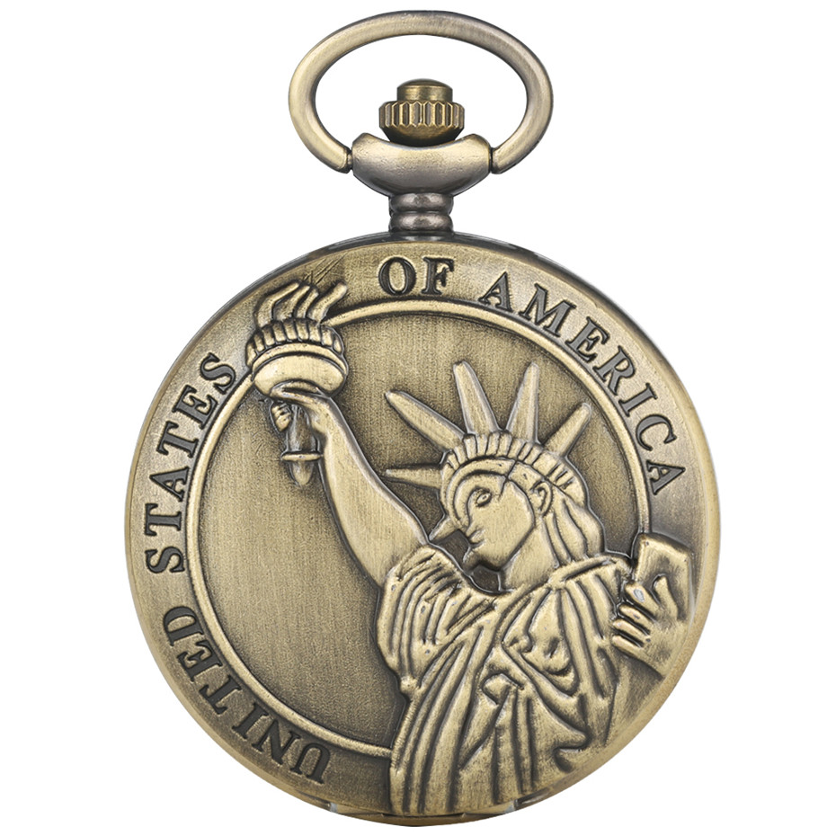 Exquisite Statue Of Liberty Display Full Hunter Pendant Clock For Men Women Vintage Quartz Pocket Watch Best Souvenir Gifts