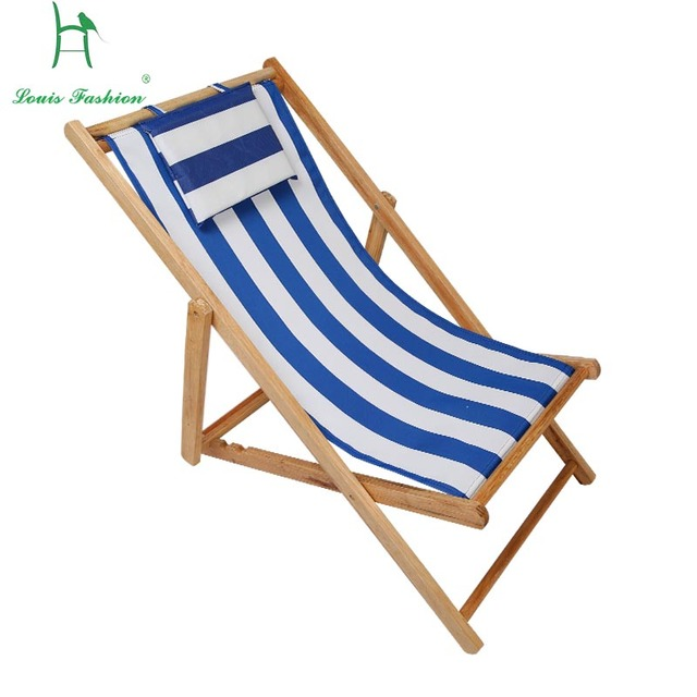 Louis Fashion Beach Chair Fold Wooden Deck Oxford Canvas Seat Outdoor Portable Midday Rest
