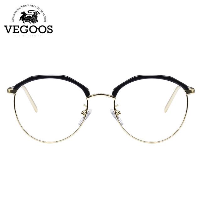 VEGOOS Diseñador Mujeres de la Marca de lentes de prescripción marco Gafas de marco de Acero Inoxidable nuevo diseño redondo #5077