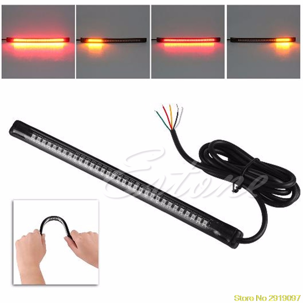 New Arrive 32 LED Universal flexible Motorcycle Light Strip Tail Brake stop/turn sign Light Drop Shipping Support